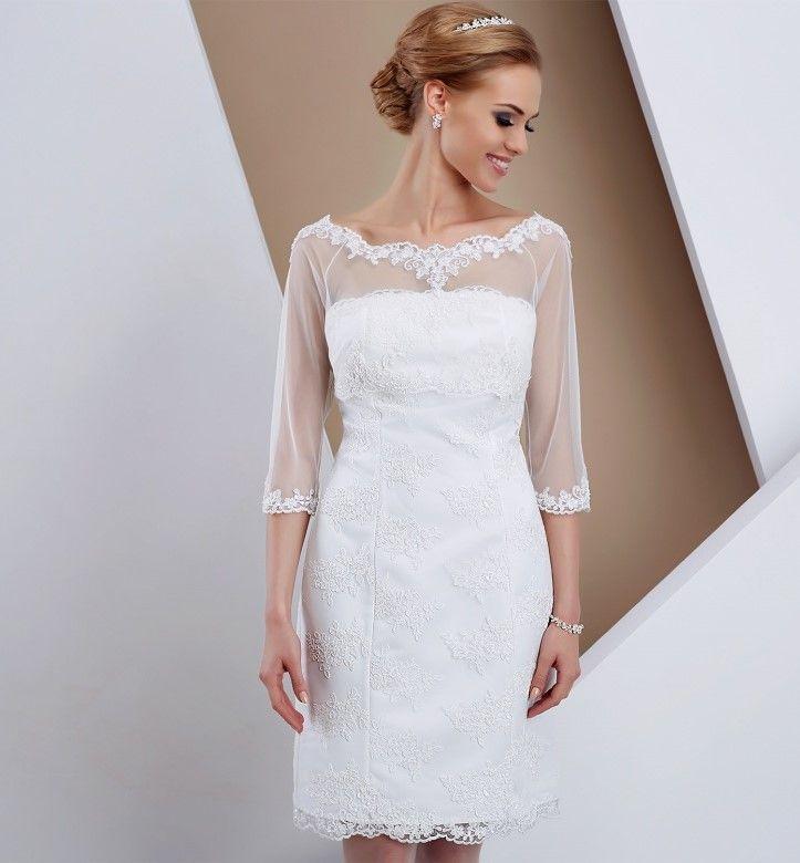 Nieuw Korte aangesloten kanten bruidsjurk. | Trouwjurk, Korte trouwjurk AX-84