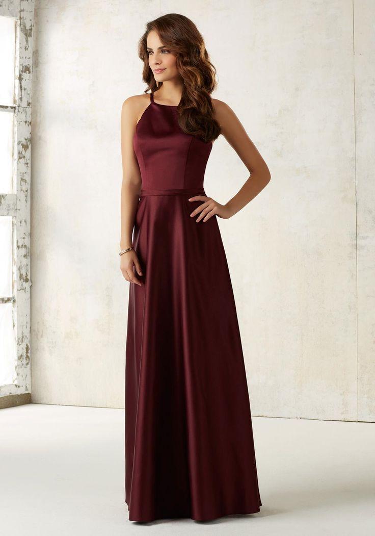Mori Lee Bridesmaid Dress Style 21517 | House of Brides  Cranberry & Navy- $140