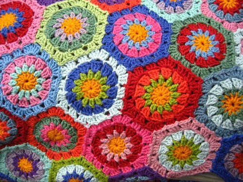 UK terms! how to crochet a hexagon at Attic 24.  Lucy gives step by step instructions and photos.