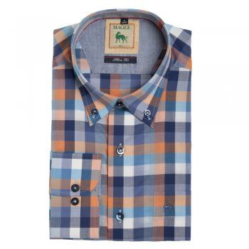 A brightly cotton Magee shirt with blue and orange. Features include - button-down collar, a breast pocket, contrasting inside collar and wolfhound embroidery on the chest.