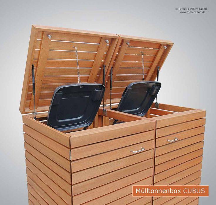 Mülltonnenverkleidung CUBUS 120 & 240 Liter - Hochwertige Verarbeitung - Zubehör komplett aus Edelstahl.