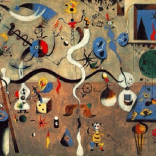 Joan Miro. Harlequin's Carnival. Oil on canvas. 1925. Albright-Knox Art Gallery, Buffalo, New York. Miro is known for his abstract, organic shapes. However, these shapes sometimes represent motifs (such as gears - because of his love of machinery) that are seen throughout his work.