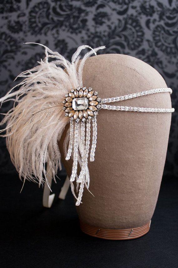 Clapet serre-tête, bandeau Great Gatsby, strass bandeau Vintage des années 1920 accessoires Gatsby parti Roaring 20 s rougir plume Ivoire, 2 102