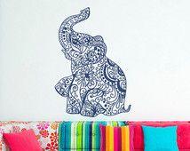 Elephant mur autocollant autocollants-Elephant Yoga mur Stickers Indie mur Art chambre dortoir pépinière Boho literie Home Decor décoration C080