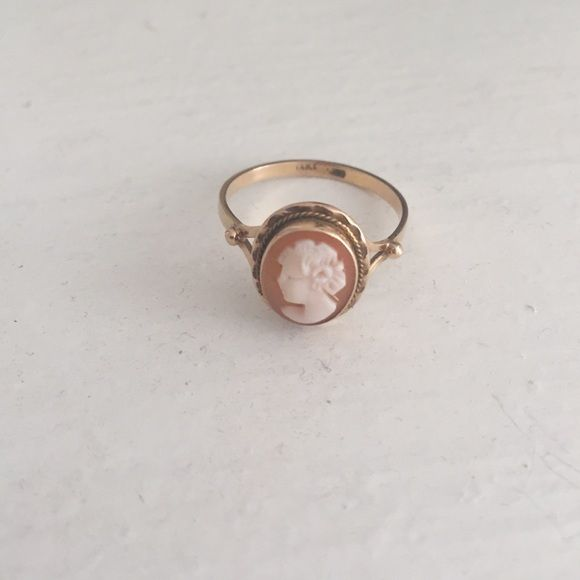 14kt gold vintage cameo ring True vintage cameo ring in 14kt gold. Peach and cream cameo. A true treasure. Vintage Jewelry Rings