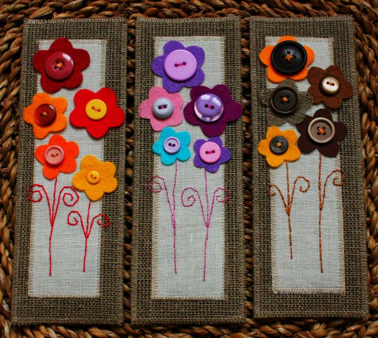 Felt bookmarks with flowers