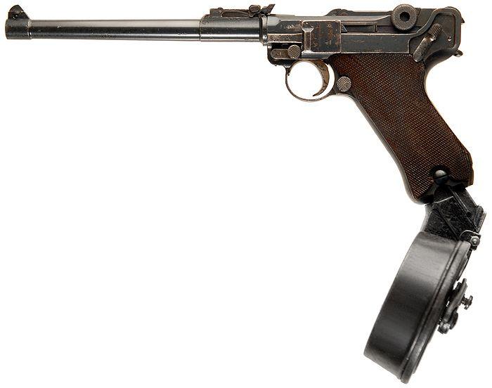 'Artillery Luger' Lange Pistole 08 with 32 round Trommel-Magazin 08.7.65×21 mm Parabellum  9×19 mm Parabellum  .45 ACP.In World War I, as submachine guns were found to be effective in trench warfare.