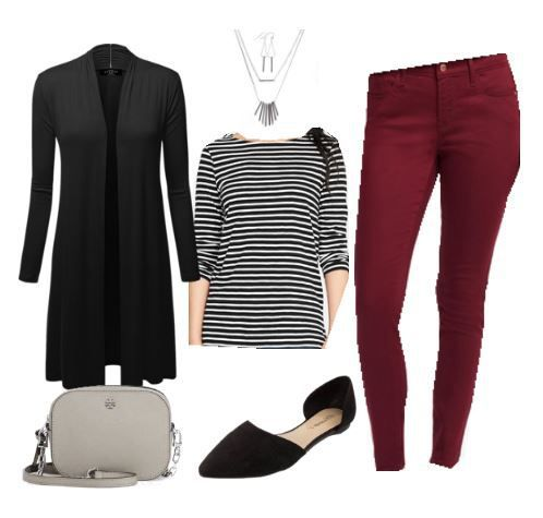 Long Cardigan and Burgundy Skinny Jeans