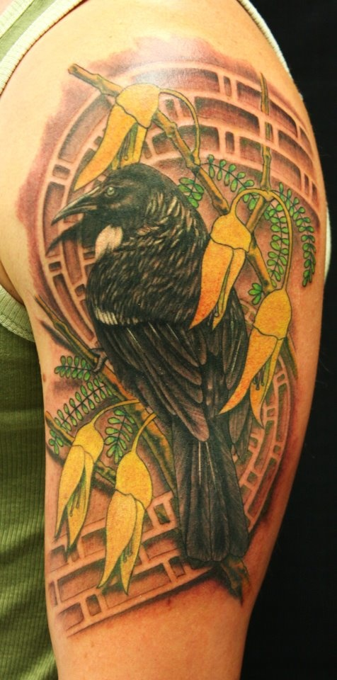 awesome Tattoo of a Tui NZ native bird