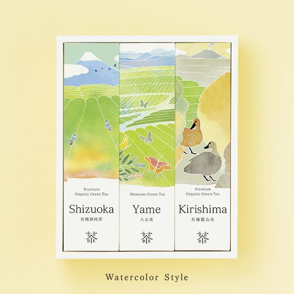 "Premium organic green tea ""The World of Sencha"" Shizuoka Sencha (50g) Yame Sencha (50g) Kirishima Sencha (50g) SAUDADE TEA"
