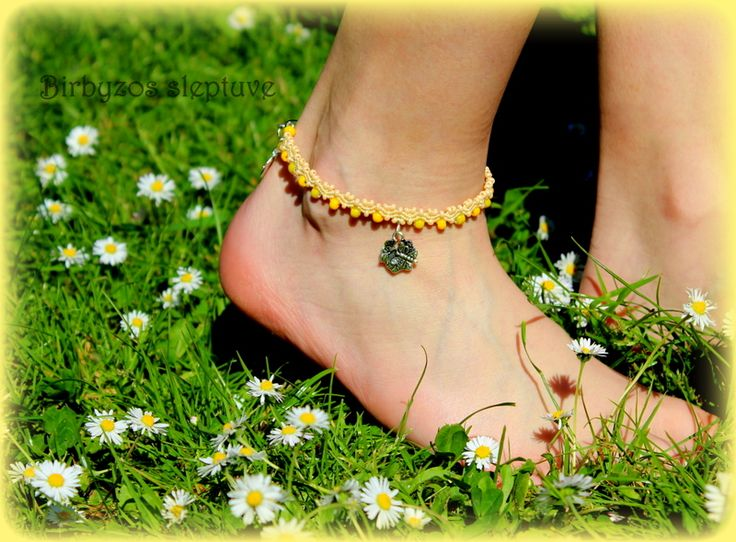 #yellow #macrame #anklet #with #tibetiansilver #charms <3