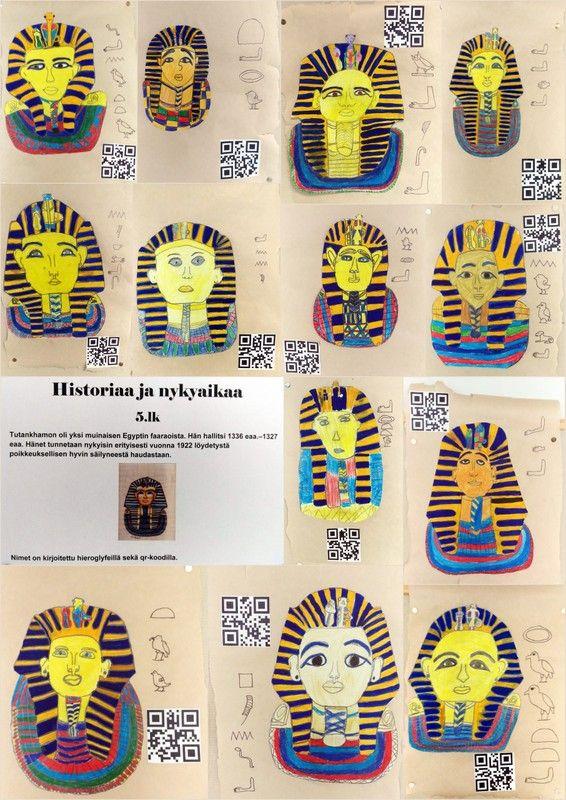Historiaa ja nykyaikaa - Tutakhamon ja hieroglyfeja QR-koodin kera.