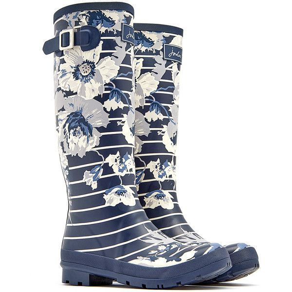Joules French Navy Posy Stripe Printed Welly Rain Boot ($48) ❤ liked on Polyvore featuring shoes, boots, rubber rain boots, waterproof rain boots, navy blue rain boots, waterproof wellington boots and rubber boots