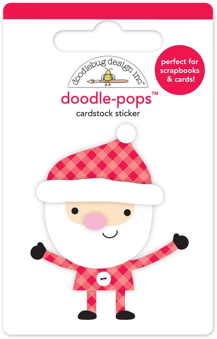 Figura 3D Papa Noel ho ho ho doodle-pops  Figurita adhesiva de Papa Noel en 3D.  Para decorar lo que quieras dandole un toque en relieve.