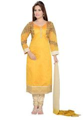 Yellow Color Art Silk Ready-made Salwar Suits ( Sizes - 36, 38, 40, 42, 44 ) : Shailja Collection  YF-42336