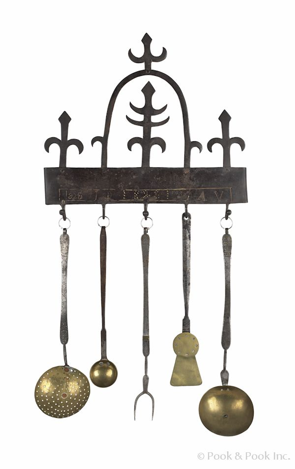 Realized price 5688 assembled pennsylvania wrought iron and brass utensil set to include a - Wrought iron silverware ...