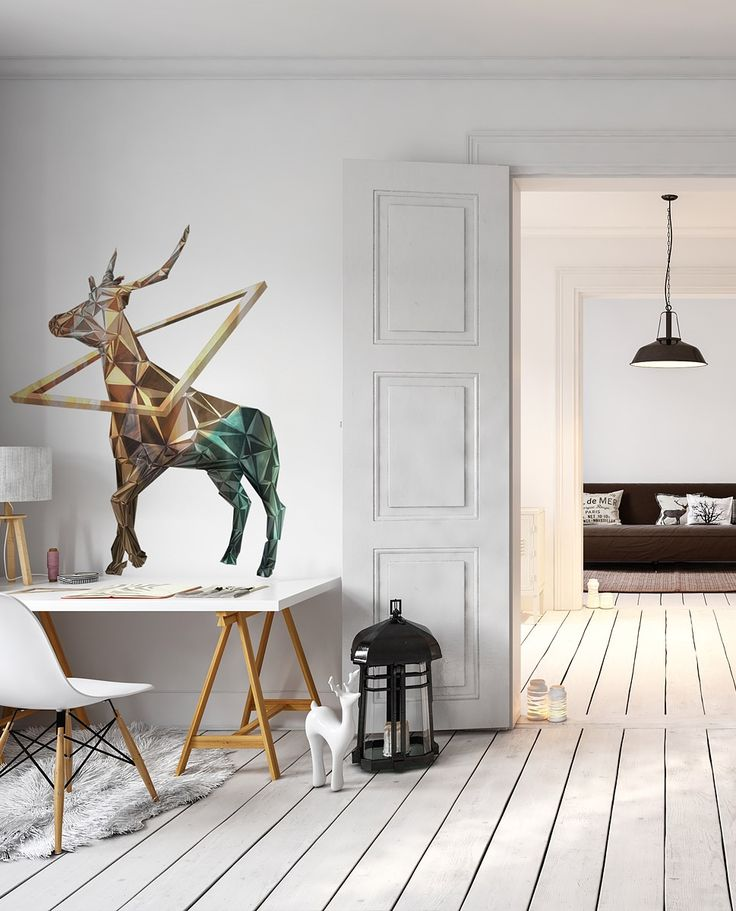 The hottest theme motif: deer! Wall decal for scandic interiors: colourful geometric deer – available only in bimago!
