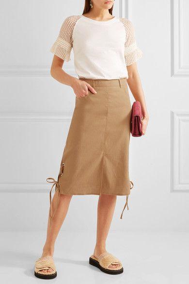 Camel linen-blend Zip fastening along side 64% linen, 35% cotton, 1% elastane; lining: 100% cotton Dry clean