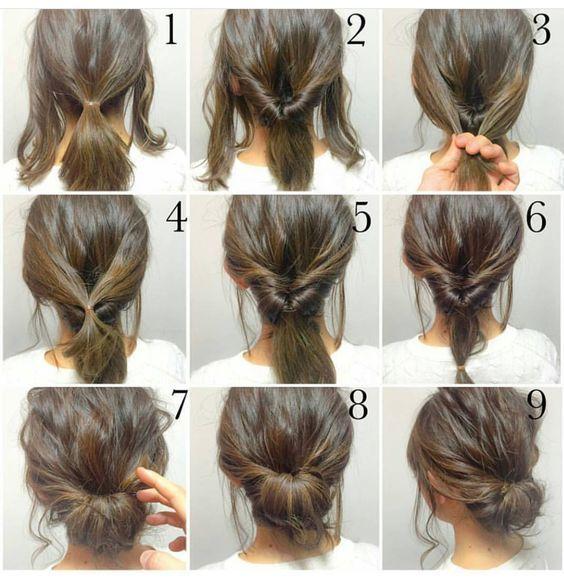 Step by step messy bun updotutorialshort to medium length hair