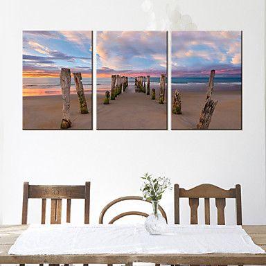 Op gespannen doek Landschap Strand Landschap Set van 3 – EUR € 60.16
