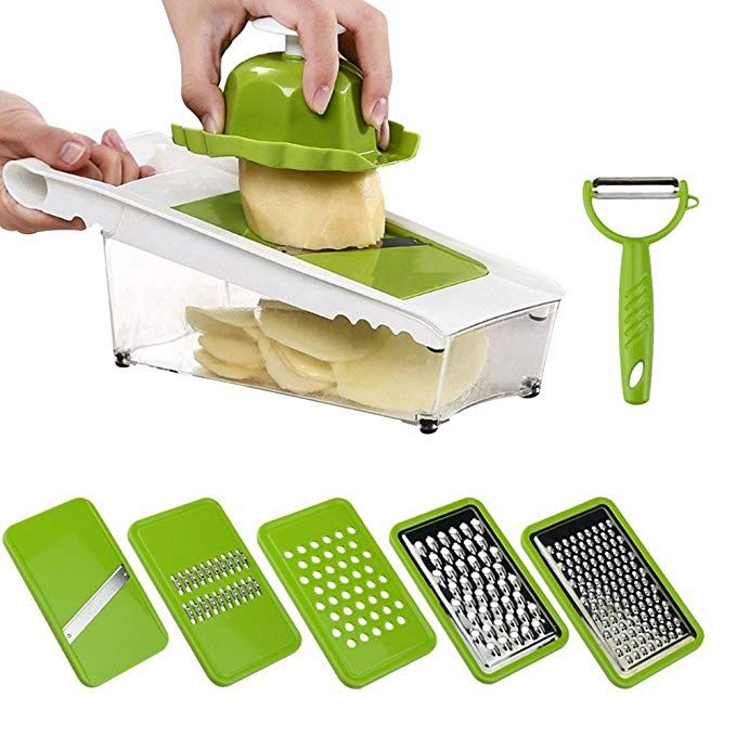 Mandoline Slicer With Container For Vegetable Stainless Steel Food Cheese Onion Grater Adjustable 5 Thickness Blade In Storag Mandoline Mandolin Slicer Slicer