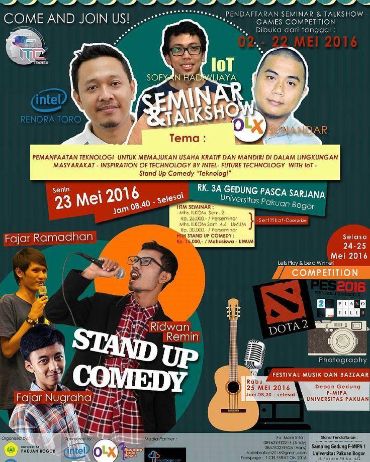 Dont forget tanggal 23 24 25 Mei 2016..Seminar Festival Stand up comedy Lomba di ITCelebration 2016.. ayo guys segera ikut sertakan diri kalian banyak ilmu dan keseruan yang cuma kalian temuin di ITCelebration 2016.. so lets come and enjoy .  For more information check @himakom_unpak . . . .  #itcelebration2016 #itc2016 #himakomunpak #himakomungu #infokommedia #intel #pes2016 #dota2indonesia #pianotiles2 #iot #infokommedia #likeit #followme #tagsram #tagsforlike by bogohbgr