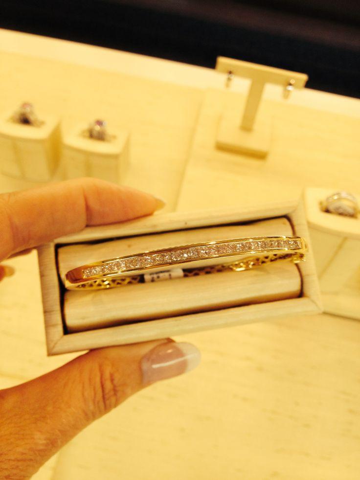Stunning white diamond Bangle!  LOVE IT!  Gift yourself!   #diamondsinternational #diamondjewellery #diamondbangle #tennisbracelett #diamonds #gold #gift #anniversary #whitediamonds #wedding #engagement