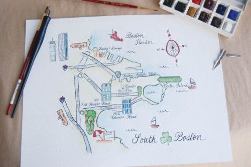 Beautiful watercolor wedding map by Swiss Cottage Designs.