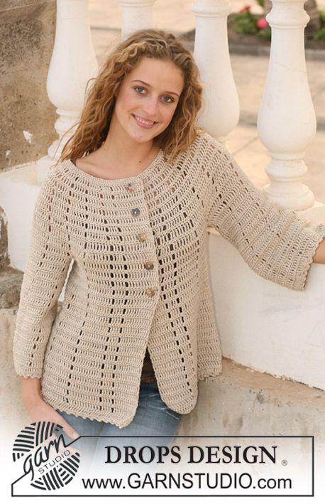 "Crochet DROPS jacket in ""Muskat"" with 3/4 sleeves. Size S - XXXL. ~ DROPS Design"