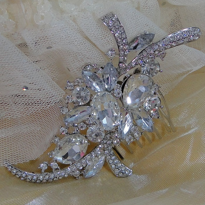 Vintage Inspired Swarovski Crystal Bridal Hair Comb, Wedding Flower Jewelry, Clear Drop Rhinestone Hair Accessories. $19.99, via Etsy.