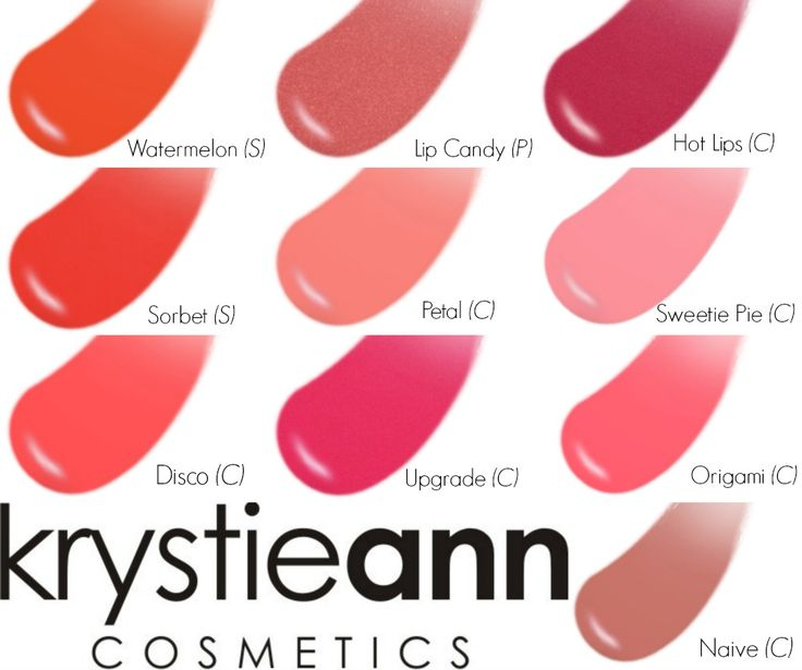 Krystie Ann Cosmetics: Lip Glosses - Swatches.  10 Fab shades!  makeup@krystieann.com to order yours!  $15 (shipping fees may apply)  lipgloss, gloss, makeup, cosmetics, bold lips, lip gloss shades, lip gloss colours