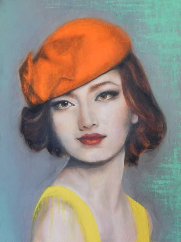 """Orange Hat,"" portrait painting by Ana Lucia Tirado Ramos 