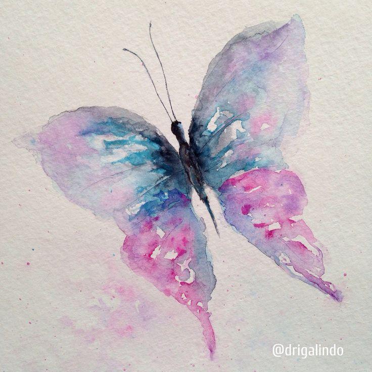 Borboleta / Butterfly by Adriana Galindo. aquarela/watercolor, 15 x 21 cm. commission: drigalindo1@gmail.com