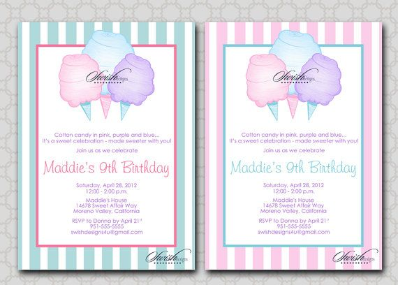 cotton candy birthday invitation printable by swishprintables
