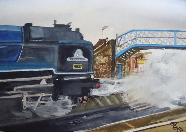 Tornado and Chertsey Station Bridge watercolour