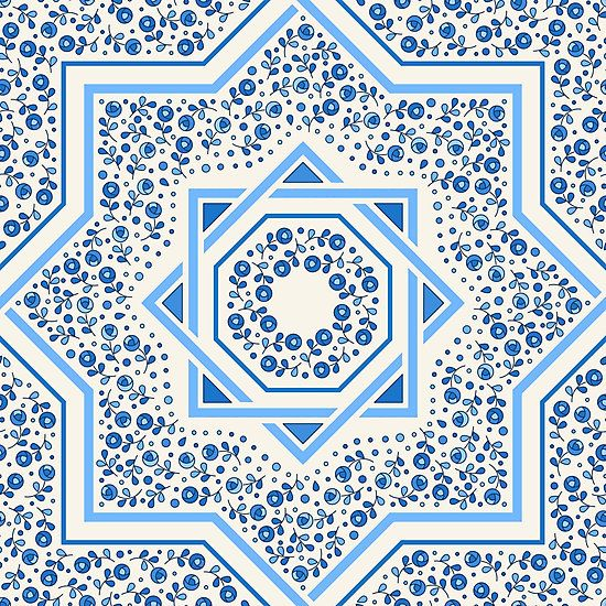 Patterned moroccan tiles with floral ornamentral, blue by Slanapotam