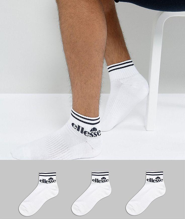 Ellesse 3 Pack Sneaker Sock - White