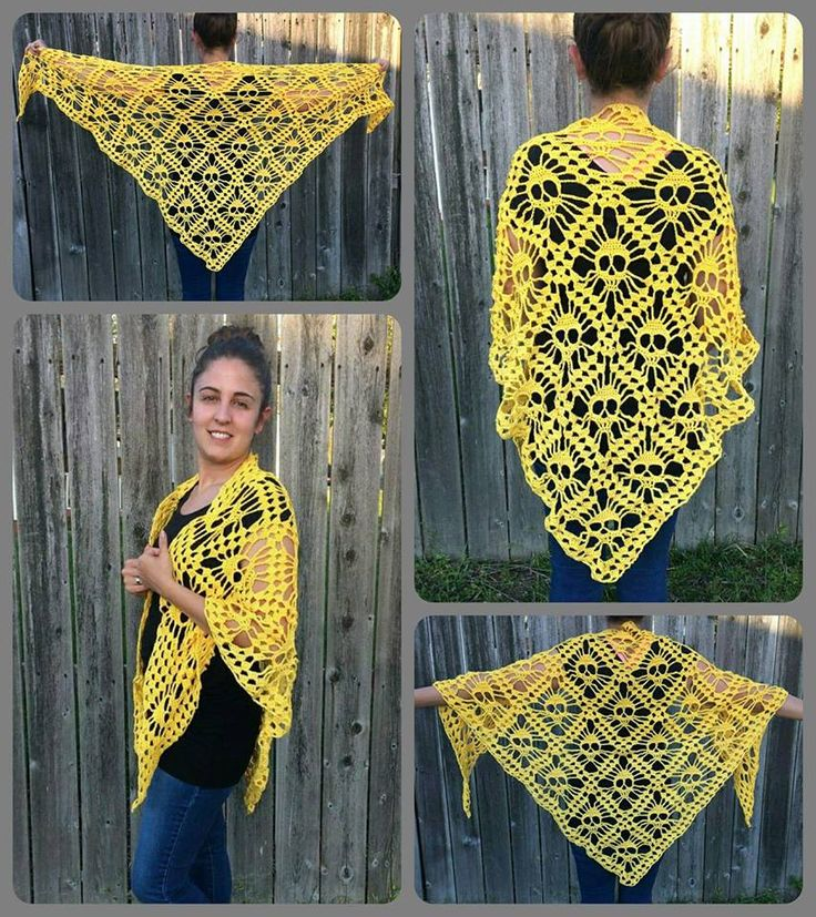 Skull Shawl  SB-$55.00  BI-$1.00  BIN-$60.00  Shipping US $3.50  ~~Made with 100% Mercerized Egyptian Cotton from dark yellow to lighter yellow. Size Large but can fit smaller.