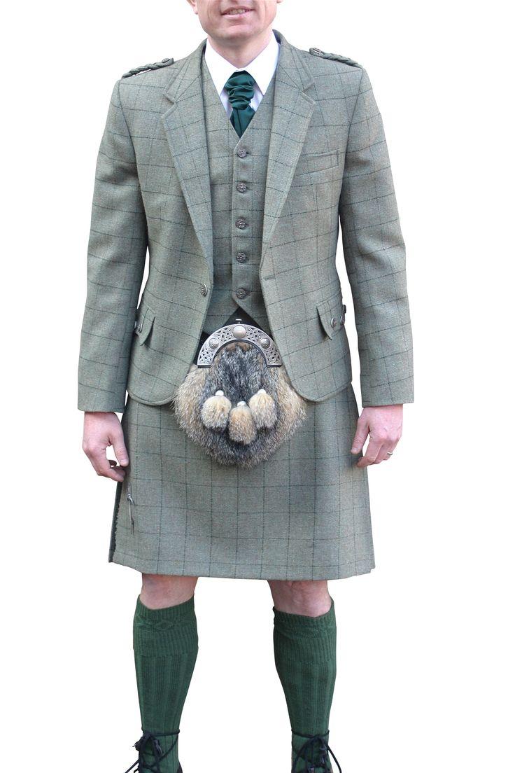 Green Cheviot Kilt Suit with grey fox sporran