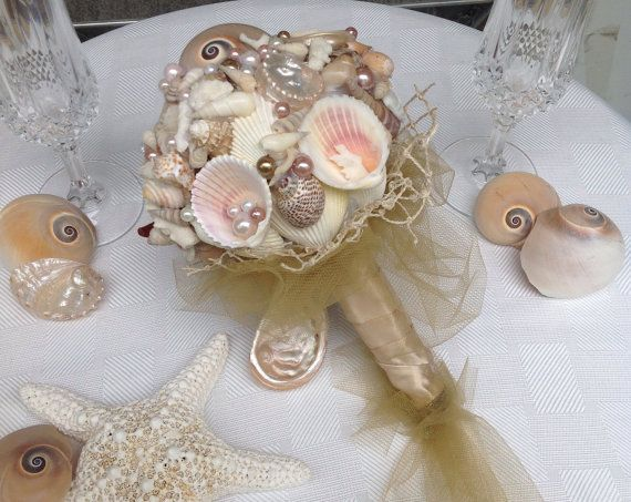 Nautical Wedding Bouquet Petite Beach By BeachBasketBride 6500
