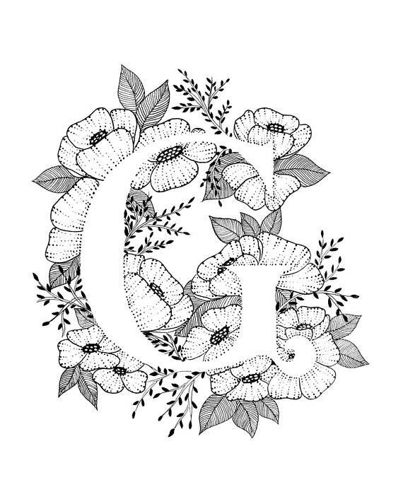 Art print van letter G met florale achtergrond. Geweldig cadeau! Message me voor aanpassingen of in opdracht van de stukken. Zwart-wit inkt, meer letters van het alfabet binnenkort.