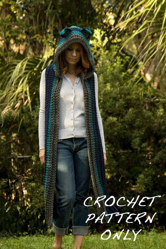 CROCHET PATTERN Cat Scarf Scoodie Hooded Scarf by WellRavelled, $4.00
