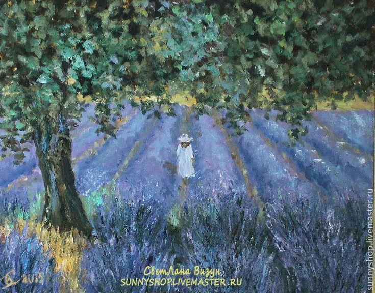 """Купить Картина маслом """"Прованс. Девочка на лавандовом поле"""" - сиреневый, картина масло прованс"""