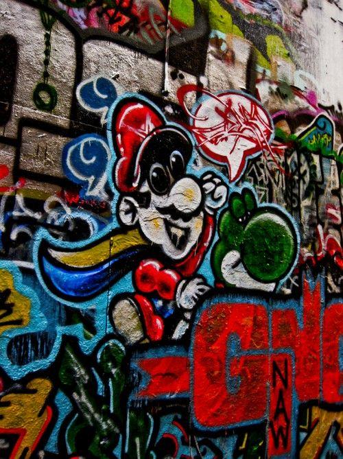 Video_Game_Graffiti_3.  benjifriedman:   mario and yoshi at the freewall