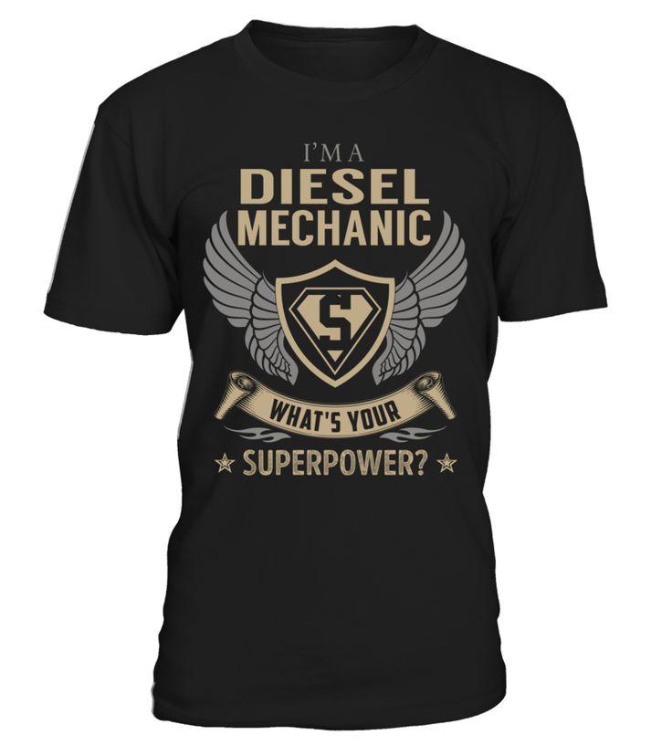 Diesel mechanic superpower job title tshirt
