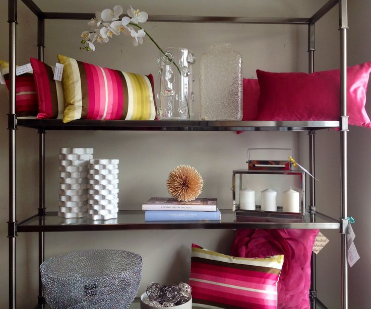 New display in Polanco Home Decor's showroom-mixing colours in our pillows along with accessories to display some of our favourite pieces! @Torre Siana (Ciani)&tagus @Robert Allen Design