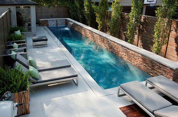modern skinny backyard pool