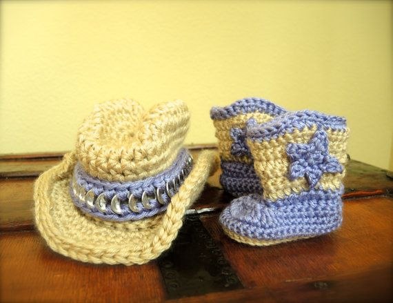 Baby Cowgirl Boots and Hat set by Pontepretties on Etsy