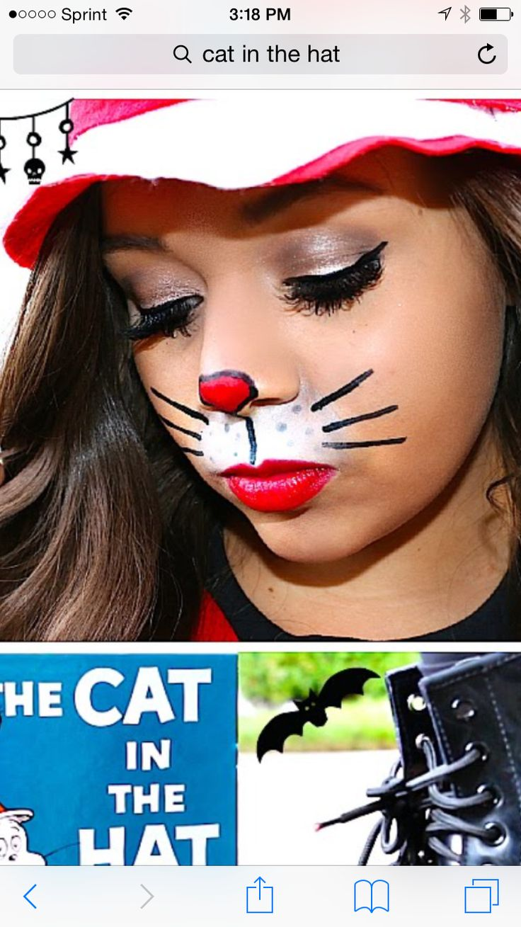 Simple cat in the hat face paint Dr seuss costumes, Kids