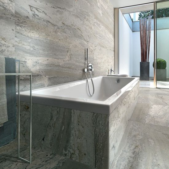 Okains Bay gloss tile in storm, cloud, or mist.  600mm x 1200mm